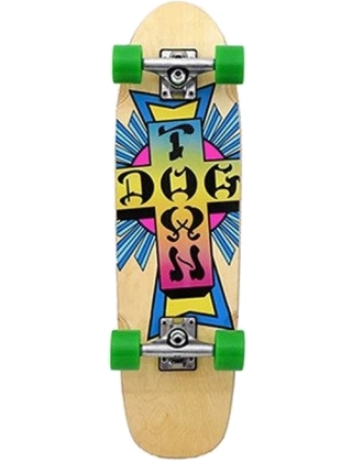 "Dogtown Neon Cross Natural 7.75"" - Old School Skateboard Complete"