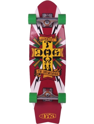 "Dogtown Death To Invaders Mini Cruiser 8.5"" Indy Trucks White - Old School Skateboard Complete"
