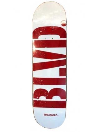 """BLVD Logo White/Red 8.0"""" Deck Skateboard"""