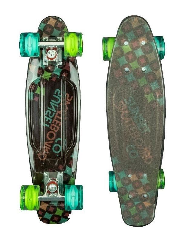 Longboard Sunset Diamonds - Cruiser Skateboard Led Light Complete. Cover Photo