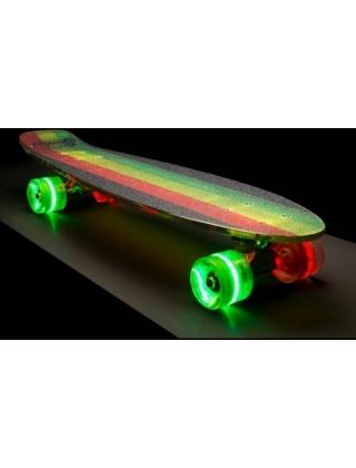 Longboard Sunset Black Rasta - Cruiser Skateboard Led Light Complete. Photo 1