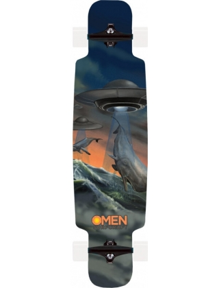 """Omen Save The Whales 41.5"""" Drop Through Longboard Deck."""