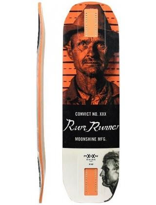 Moonshine Rum Runner White/Orange Longboard Deck.