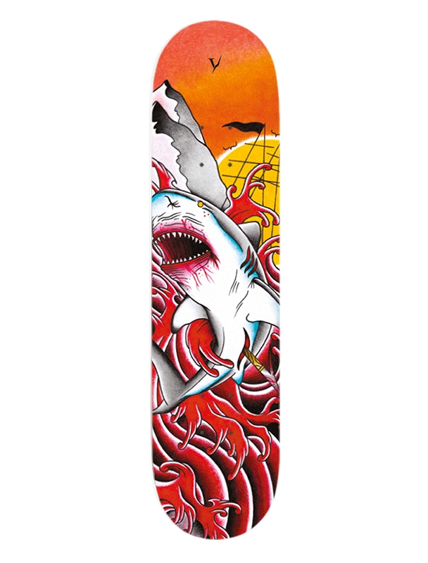 Skateboard deck Verdad OG Tattoo Shark 8.25'' - Deck Cover Photo